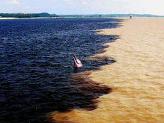 The Meeting of Waters is the confluence between the Rio Negro, a river with dark (almost black colored) water, and the sandy-colored Amazon River or Rio Solimões, as it is known the upper section of the Amazon in Brazil. For 6 km the river's waters run side by side without mixing. It is one of the main tourist attractions of Manaus, Brazil. The same also happens near Santarém, Pará with the Amazon and Tapajós rivers. Follow AmiPlanet on pinterest.com/...
