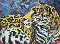 """Amur Leopard, original painting by Sara Cuthbert. From the """"Red Series"""" endangered animals. Acrylic on canvas.  Visit Saracuthbert.com"""