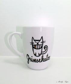 Katze Tasse Grinse-Katze Katze Tasse mit Spruch von Lovely-Cups via dawanda.com