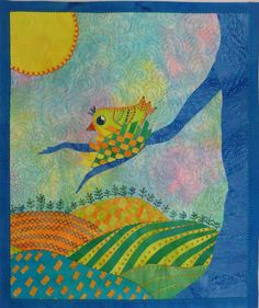 Hand-dyed Fabrics and Threads and Art Quilts by Laura Wasilowski Bird Quilt, House Quilts, Iron On Applique, Hand Embroidery, Needlework, Dinosaur Stuffed Animal, Birds, Crafty, Songs