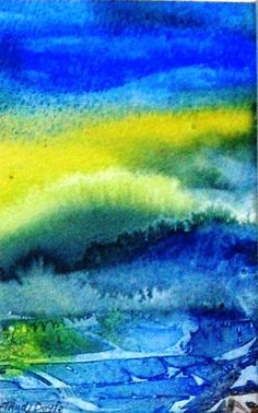"""""""Emerging Light """"  Original Watercolour Painting   Small size 5.5ins x 3.5ins (14 x 9 cm) Matted in Ivory with backing card .$25"""