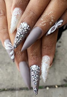 Rhinestone nails @fiina_naillounge                                                                                                                                                                                 More