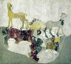 Cows on a bronze age fresco from the excavation at Akrotiri on the Greek island Santorini