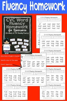 C-V-C Fluency Homework packet for Kindergarten.  Nightly homework to improve your students ability to read CVC words.