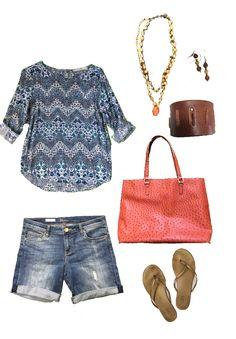 Stitch Fix blouse & denim shorts