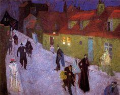 Lyonel Feininger, Street scene by night on ArtStack #lyonel-feininger #art