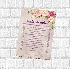 Would She Rather Bridal Shower Game Printable Wedding Shower Game Bachelorette Party Would She Rather Bridal Shower Game Wedding Shower Game