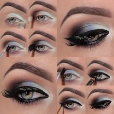 1.Apply the mint shade from the Fantasy palette on the inner third of the eye and tear duct area. 2.Apply Choco-Lights on the outer V 3.Glamour in the center of the lid 4.Pearl on the brow bone 5.Onyx on the outer V 6.Line the eye with Little black dress 7.Black eye kohl on the waterline Lashes: Tigress @House of Lashes Brows: @anastasiabeverlyhills