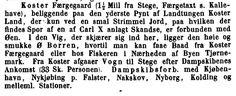 Forbindelser fra Koster Færgegaard. Kilde: Grove, Danmark. Illustreret Reisehaandbog, København 1870.