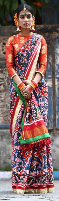 Patan Patola Sarees by Ayush Kejriwal Indian Style, Indian Look, Indian Blouse, Indian Sarees, India Fashion, Asian Fashion, Ethnic Fashion, Saris, Indian Attire