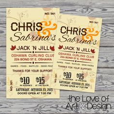 simple business card sized tickets for jack and jill party cheap