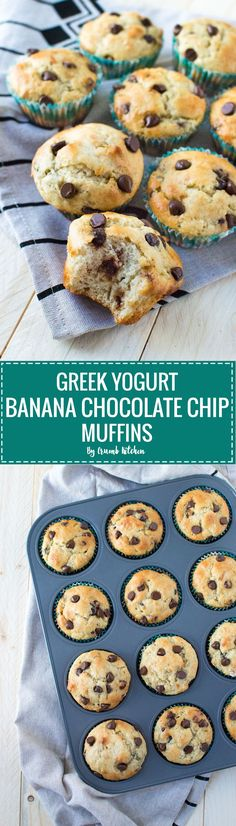 Light and fluffy, these healthy Greek Yogurt Banana Chocolate Chip Muffins are the perfect skinny snack for banana lovers.   crumbkitchen.com
