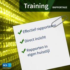 Overzichten van mutaties en registraties? Volg de training Rapportage. Effectief rapporteren | Direct inzicht | Eigen huisstijl | Schrijf u direct in via https://bcsacties.nl/product/rapportage/