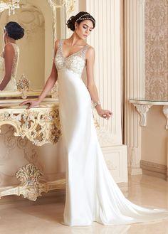 Vestido+de+novia+Satén+Elástico+Natural+primavera+Pura+espalda+Escote+en+V