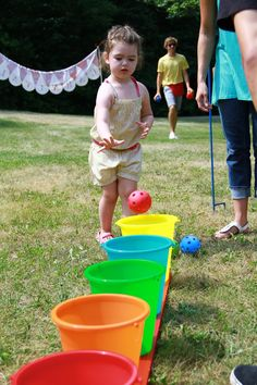 """bozo buckets but rename """"blueberry buckets"""" and use blue plastic balls Girl 2nd Birthday, Birthday Games, 2nd Birthday Parties, Birthday Ideas, Themed Parties, Party Themes, Party Ideas, Outdoor Games For Kids, Outdoor Fun"""