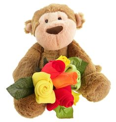 This gorgeous baby gift combines the most super-soft Mocha Monkey with a sweet mini sock bouquet (3 pairs of bright baby socks wrapped just like a little flower posy).  A great gift for a baby girl or boy - Mocha is sure to become one of baby's favourites.