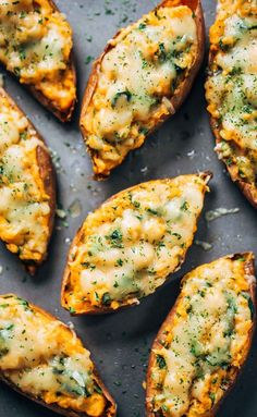 Healthy Sweet Potato Skins - a vegetarian recipe featuring sweet potatoes, spinach, and chickpeas! a MUST TRY for sweet potato lovers. | pinchofyum.com