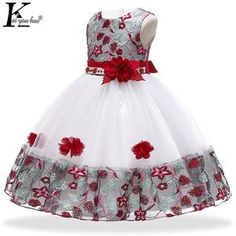 """Sleeve Style: RegularMaterial: Nylon,Polyester,CottonDecoration: FlowersSleeve Length(cm): SleevelessModel Number: Girls DressSilhouette: Ball GownStyle: """"European and American StyleDresses Length: Knee Kids Prom Dresses, African Dresses For Kids, Wedding Dresses For Kids, Latest African Fashion Dresses, Girls Party Dress, Dresses For Girls, New Dress For Girl, Kids Dress Wear, Kids Gown"""