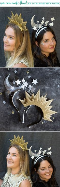 DIY Sun and Moon Headbands for Halloween! Do you need a simple DIY Halloween Costume? We've got you covered! A few of our are going to make these to celebrate New Years Eve this year! Head to our website to make your DIY Headbands with Lia Diy Halloween, Food Halloween Costumes, Looks Halloween, Diy Costumes, Halloween Makeup, Costume Ideas, Food Costumes, Halloween Headband, Halloween Dress