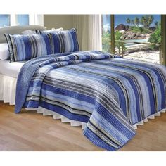 Brisbane Three-Piece Blue Striped Quilt Set - Overstock™ Shopping - The Best Prices on Kids' Quilts