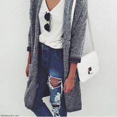 Perfect fall outfit with cardigan, white T-shirt and ripped jeans. #fashion…