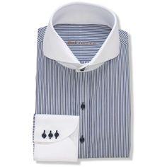 Italian-Blue Stripes High Collar - John Clothier Italian Blue Stripes | I Open Collar Shirt, High Collar Shirts, Vintage Men, Vintage Fashion, Vintage Style, Plain White Shirt, Designer Clothes For Men, Designer Clothing, Shirt Sleeves