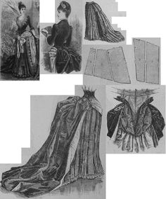 Illustrirte Frauen Zeitung 1885.: Evening dress with train from red atlas and green plush.