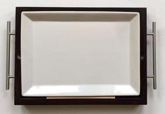 Cypress Home Serving Tray Dark Wood White Ceramic Rectangle Metal Handles Dining…
