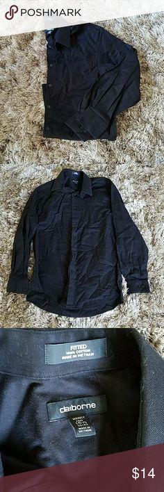 Claiborne Black dress shirt 15.5  32/33 Fitted  100% Cotton Claiborne Shirts Dress Shirts
