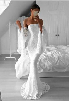 Prom Dress For Teens, Mermaid Strapless Sweep Train Long Bell Sleeves Ivory Lace Prom Dress, cheap prom dresses, beautiful dresses for prom. Best prom gowns online to make you the spotlight for special occasions. Prom Dresses 2017, Long Wedding Dresses, Mermaid Prom Dresses, Formal Evening Dresses, Dress Formal, Lace Wedding, Party Dresses, Long Dresses, Dress Prom