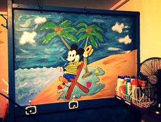 Disney Artwork - Mickey Mouse We love how we updated our pool house by painting underwater themed art on walls and appliances.