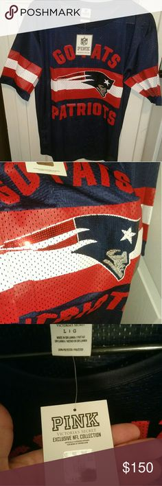 Victoria's Secret Pink Patriots Jersey Brand new with tags. This New England Patriots jersey is amazing looking, it has gorgeous sequins on it and is super rare and hard to find especially in the larger sizes. Check out my other listings as well, I have more VS Patriots items for sale. PINK Tops
