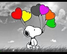 Snoopy, Nuser, Peanuts, Radiserne, cartoon, hearts, heart balloons, cute, love