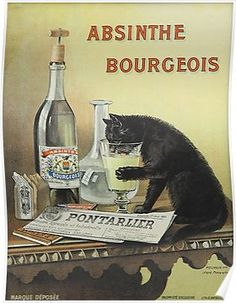 """Shop Retro french poster """"absinthe bourgeois"""" created by parisjetaimee. Vintage French Posters, Vintage Images, Green Fairy Absinthe, Etiquette Vintage, Poster Prints, Art Prints, Gig Poster, Old Ads, Vintage Cat"""