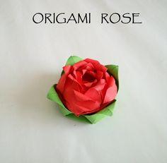 折り紙のバラ How to make an Origami Rose Tutorial 종이 접기 장미 折… Paper Origami Flowers, Origami And Quilling, Origami And Kirigami, Origami Paper Art, Oragami, Paper Craft, Paper Roses Tutorial, Origami Flowers Tutorial, Rose Tutorial