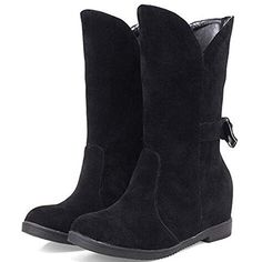 Womens Lovely Bowknot Mid Calf Winter Outdoor ColdWeather Boots Warm Thick Plush Fleece Nubuck Suede Waterproof Heighten Inside Snow Boots 7 US 38 EU Black ** Learn more by visiting the image link.(This is an Amazon affiliate link and I receive a commission for the sales)