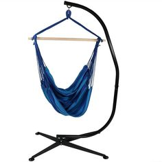 DIMENSIONS: Hammock chair measures 60 inches long x 44 inches wide; weighs 4 pounds; C-stand measures 84 inches tall x 32 inches deep x 52 inches wide weighs 55 pounds; Weight capacity of 300 pounds so it can easily hold one adult. RELAX IN ULTIMATE COMFORT: Seat is made from a soft durable cotton and polyester canvas with strong 0.25 inch thick rope for ultimate comfort and relaxation. STAND INCLUDED: Comes with swinging hammock and C-stand; Frame is made from durable steel and is powder-coated Hammock Chair Stand, Rope Hammock, Hanging Hammock Chair, Hanging Rope, Swinging Chair, Chair Swing, Hammocks, Hanging Chairs, Chair Fabric