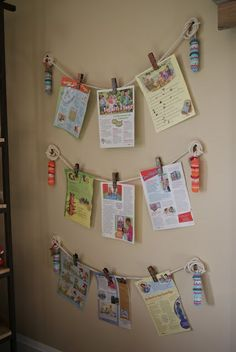great way to hang kid art! great for playroom!
