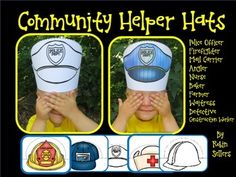 These community helpers printable hats come in color and black and white. Just print on card stock, color if needed, cut the strips, and tape the hats and you will have a parade of community helpers in your classroom. Community Helpers Kindergarten, Kindergarten Social Studies, Kindergarten Themes, Classroom Community, Student Teaching, Teaching Tips, Social Studies Communities, Communities Unit, People Who Help Us