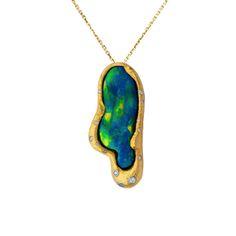 Black Opal & Diamond Pendant - The Goldsmiths & Silversmiths Co. Collection