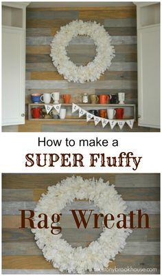 Making a super fluffy farmhouse rag wreath Fabric Wreath, Diy Wreath, Wreath Making, Wreath Ideas, Wreath Crafts, Deco Mesh Wreaths, Rag Wreaths, Burlap Wreaths, Door Wreaths