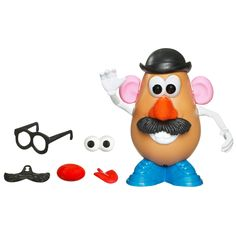 Mr. Potato Head Toy Story 3 Classic Mr. Potato Head Figure. Popular and classic Mr. Potato Head figure. Figure looks like the character in the Toy Story 3 movie. Features wacky parts for fun potato looks. Part storage in the Tater Tush compartment. Potato body comes with a pair of glasses, 1 derby hat, 2 ears, 1 pair of shoes, 1 set of teeth, 2 noses, 1 set of eyebrows, 1 tongue, 1 mustache, 2 arms, and 2 pairs of eyes accessories.
