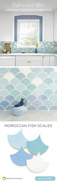 Pool fish scale tiles turquoise fan shaple fish scale for Fish scale backsplash