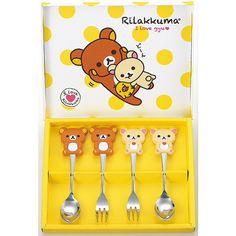 Rilakkuma Korilakkuma Spoon & Fork 4 piece Set San-X Japan F/S Rilakuma Wallpapers, Bear Character, Home Tools, Rilakkuma, Japan, Cute, Ebay, Decor, Dreams