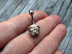 Pug dog belly button jewelry by AnnaSiivonen on Etsy