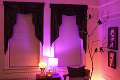 Create spooky curtains using trash bags!