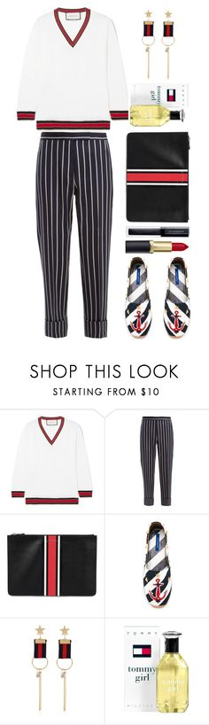 """""""Thom Browne"""" by thestyleartisan ❤ liked on Polyvore featuring Gucci, Thom Browne, Givenchy, Dolce&Gabbana, WithChic, Tommy Hilfiger, stripesonstripes and PatternChallenge"""