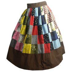 Kitschy Bright Patchwork Print Cotton Skirt circa 1950s - Dorothea's Closet Vintage