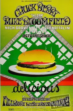 1969 Poster, Chuck Berry - Mike Bloomfield, Nick Gravenites, Mark Naftalan at Fillmore West 1969 - Poster designed by R. Tuten - printed by Tea Lautrec Litho, San Francisco. Rock Posters, Band Posters, Music Posters, Vintage Concert Posters, Vintage Posters, Mike Bloomfield, Fillmore West, Bill Graham, Chuck Berry