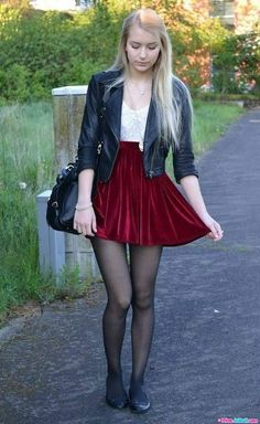 Flats and burgundy skirt - - Outfit - Pantyhose Skirt, Pantyhose Fashion, Pantyhose Outfits, Fashion Tights, Nylons, Fashion Flats, Women's Fashion, Tights And Heels, Tights Outfit